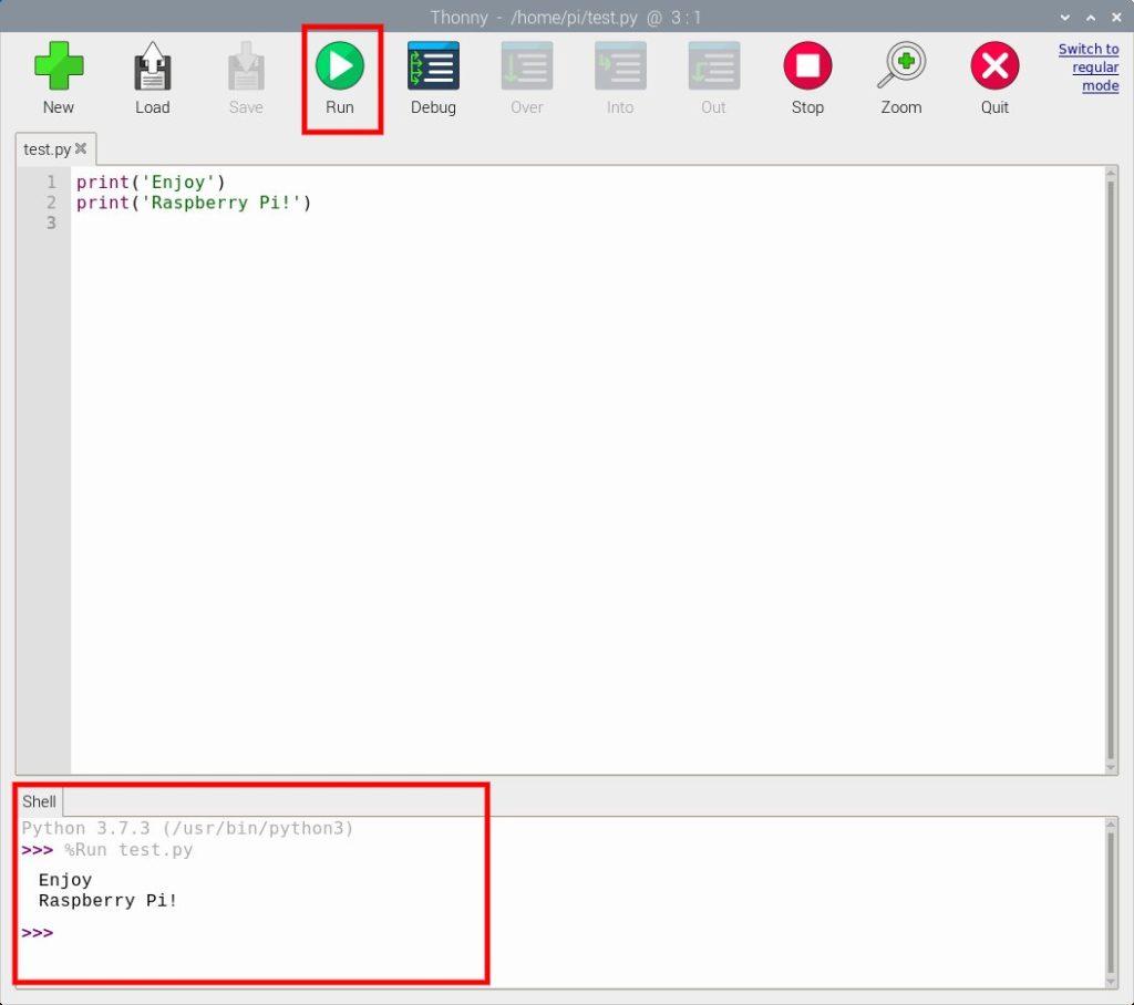 Thonny Python IDEでプログラムを実行